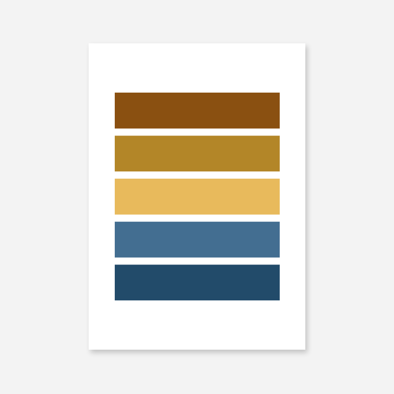 Blue yellow and brown rectangles colour swatch minimalist free downloadable printable wall art