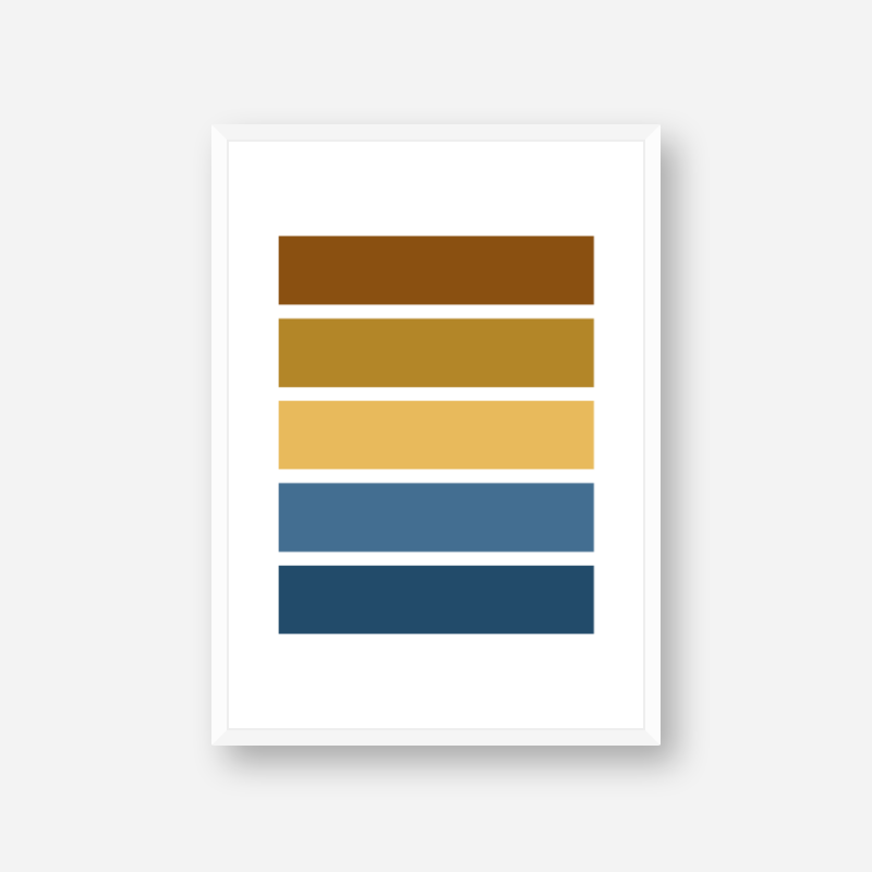 Blue yellow and brown rectangles colour swatch minimalist free downloadable printable wall art, digital print