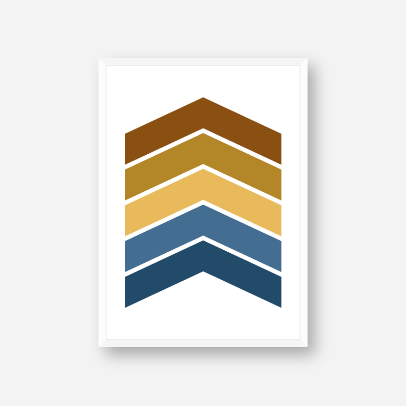Blue yellow and brown chevrons colour swatch minimalist free downloadable printable wall art
