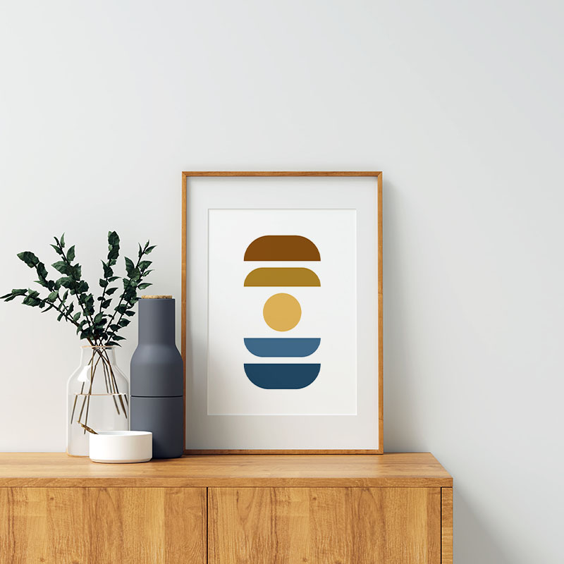 Blue yellow and brown abstract colour swatch minimalist free downloadable printable wall art, digital print