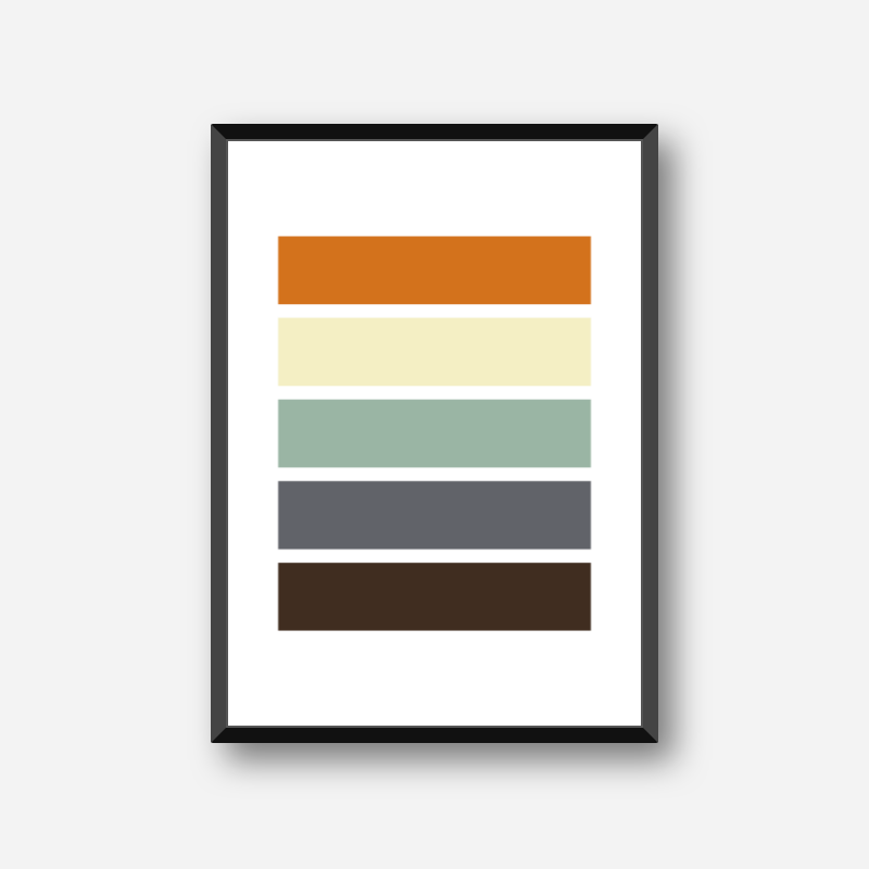 Black blue green yellow and red rectangles colour swatch style minimalist free downloadable printable wall art, digital print