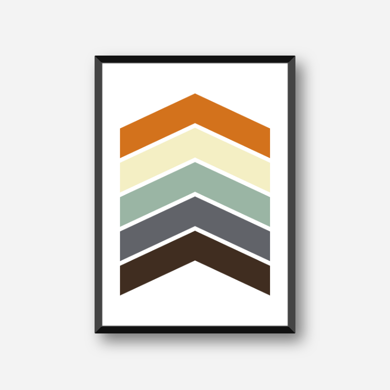 Black blue green yellow and red chevrons colour swatch style minimalist free downloadable printable wall art, digital print