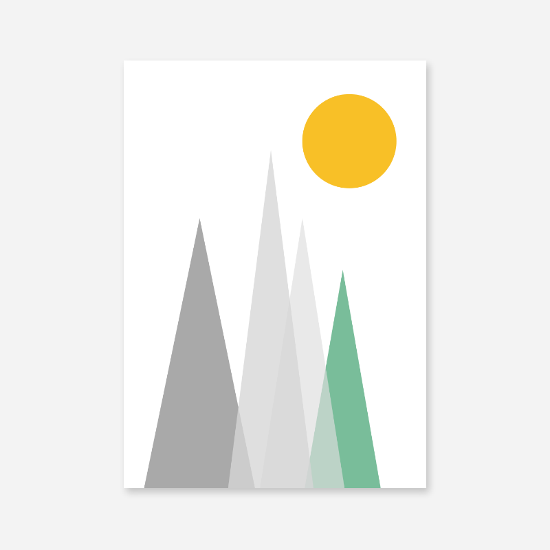 Grey and green mountain hills triangles with yellow sun Scandinavian Nordic style minimalist free wall art