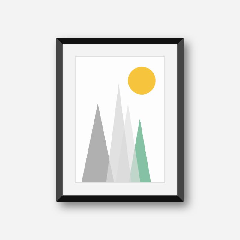 Grey and green mountain hills triangles with yellow sun Scandinavian Nordic style minimalist free wall art, digital print