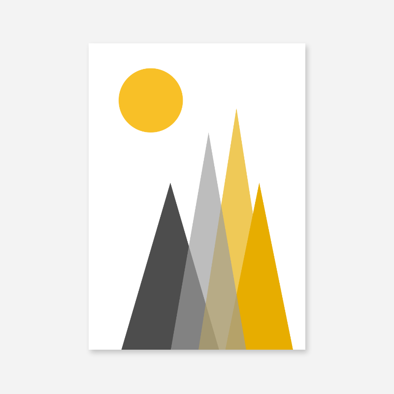 Grey and yellow triangle mountain hills with sun circle Scandinavian Nordic style minimalist free wall art