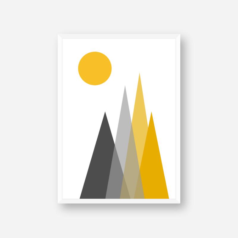 Grey and yellow triangle mountain hills with sun circle Scandinavian Nordic style minimalist free wall art
