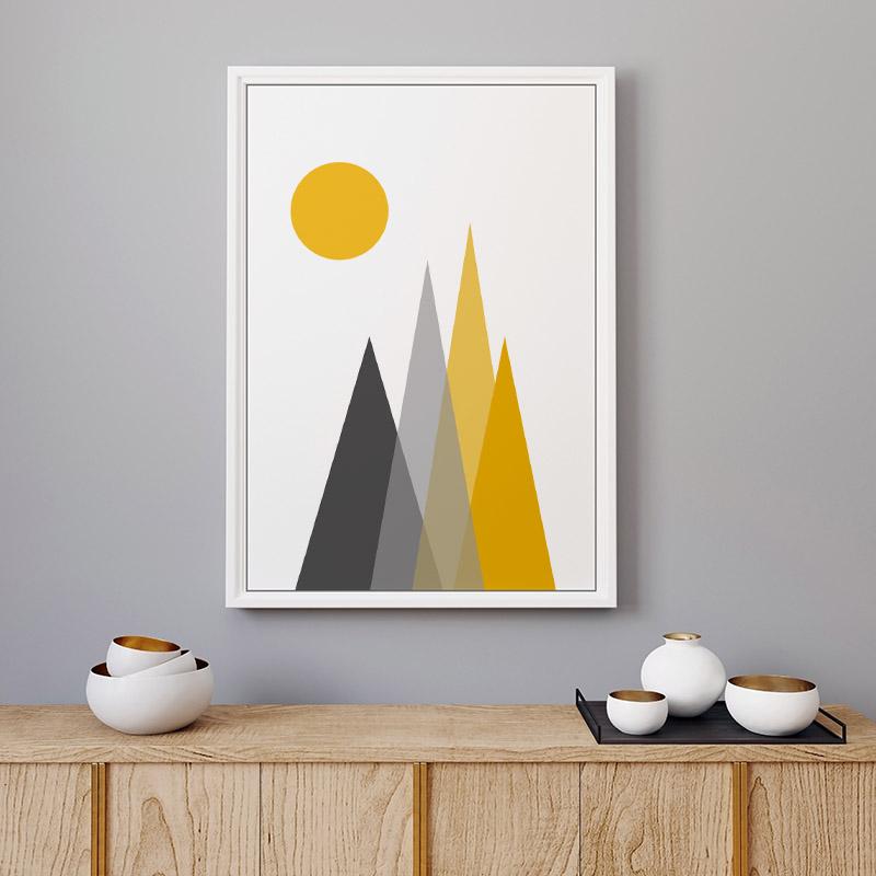 Grey and yellow triangle mountain hills with sun circle Scandinavian Nordic style minimalist free wall art, digital print