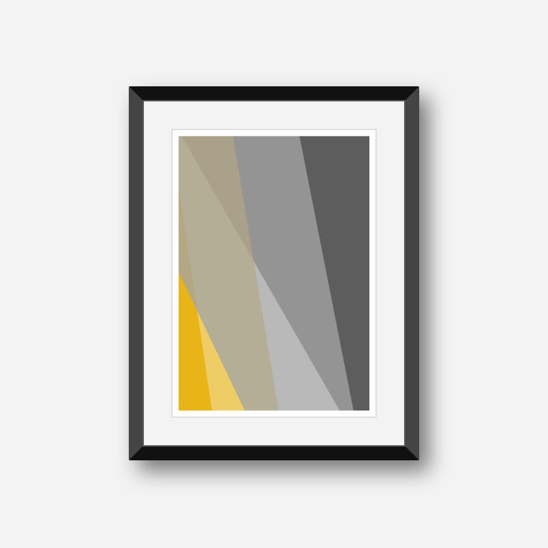 Grey brown and yellow abstract triangle polygon minimalist free downloadable wall art, digital print