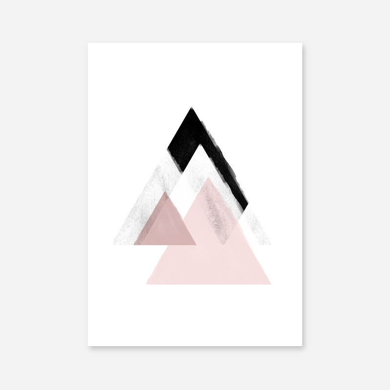 Grey and pink abstract design with triangles watercolour Scandinavian downloadable wall art