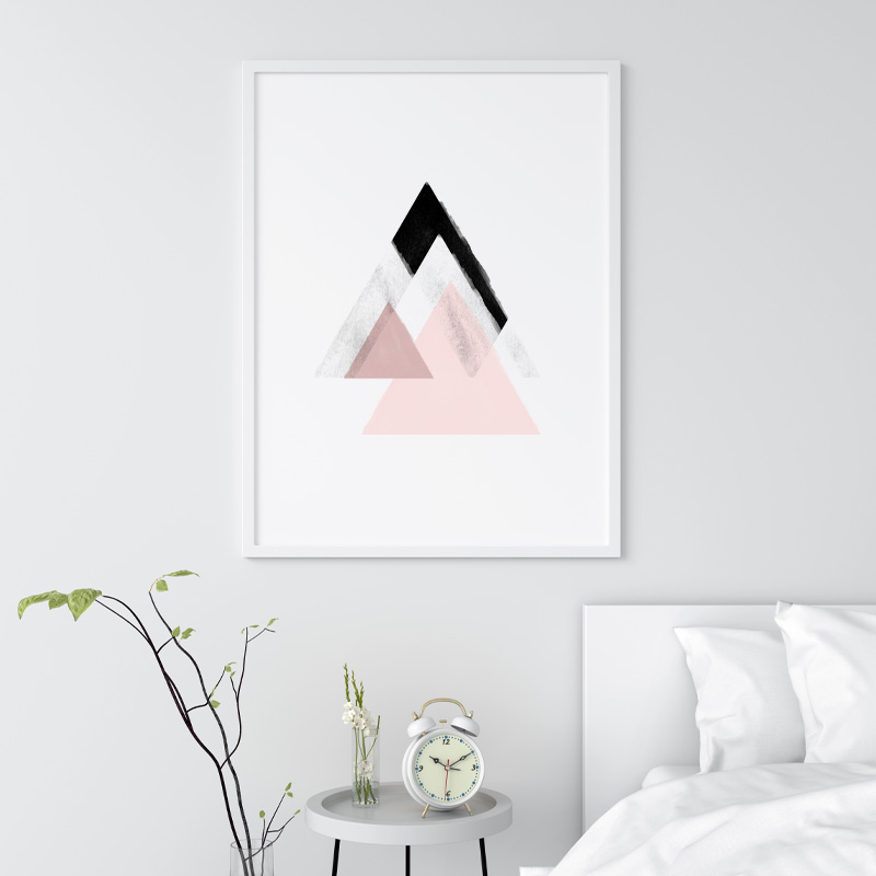 Grey and pink abstract design with triangles watercolour Scandinavian downloadable wall art, digital print