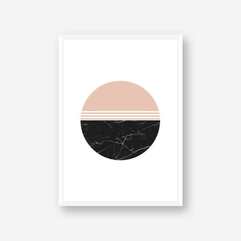 Modern abstract peach and black marble coloured half circles minimalist free wall art printable