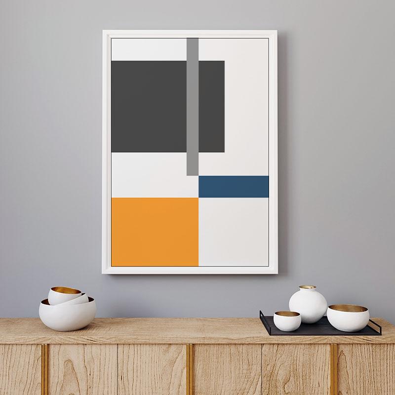 Orange grey and blue rectangles geometric minimalist free downloadable printable wall art, digital print