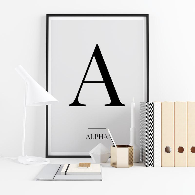 Black letter A (Alpha) NATO phonetic alphabet minimalist free printable wall art, digital print