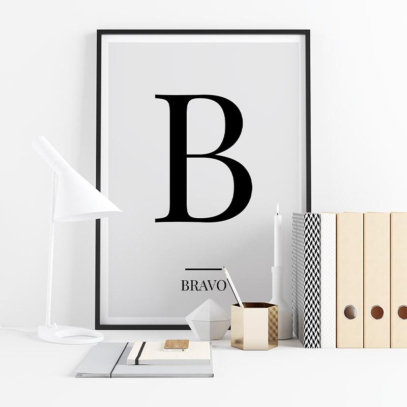 Black letter B (Bravo) NATO phonetic alphabet minimalist free printable wall art, digital print