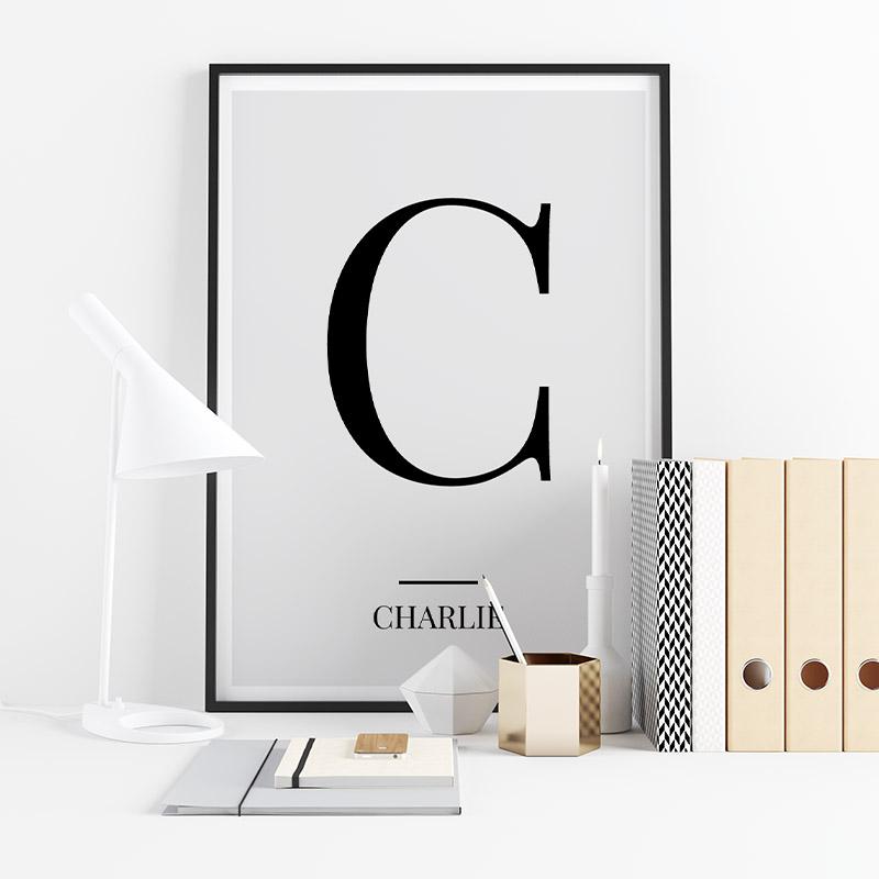 Black letter C (Charlie) NATO phonetic alphabet minimalist free printable wall art, digital print