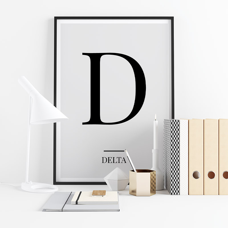 Black letter D (Delta) NATO phonetic alphabet minimalist free printable wall art, digital print