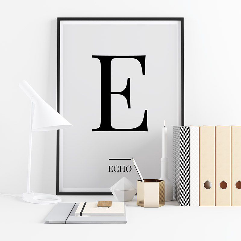 Black letter E (Echo) NATO phonetic alphabet minimalist free printable wall art, digital print