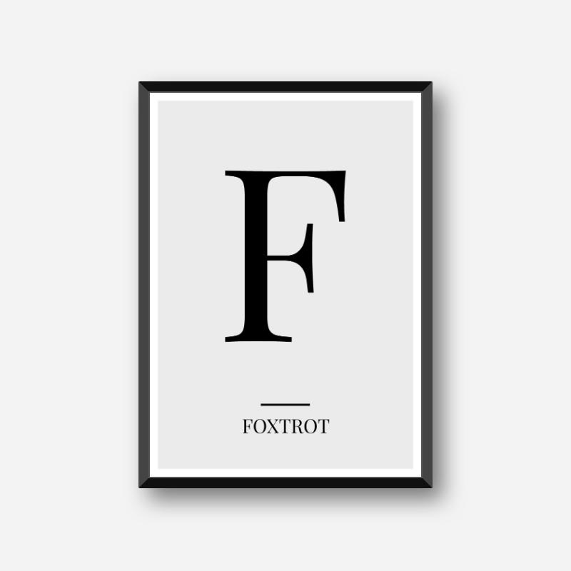 Black letter F (Foxtrot) NATO phonetic alphabet minimalist free printable wall art, digital print