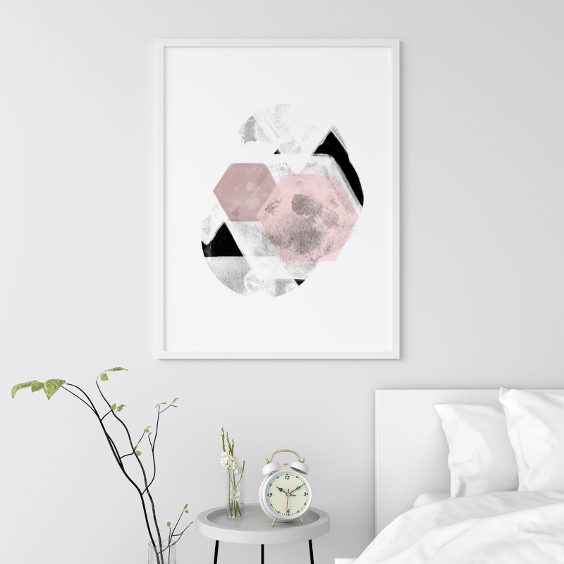 Grey and pink abstract design with polygons watercolour Scandinavian downloadable wall art