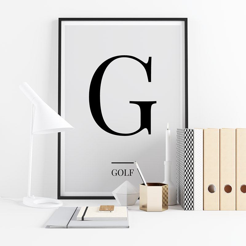Black letter G (Golf) NATO phonetic alphabet minimalist free printable wall art, digital print