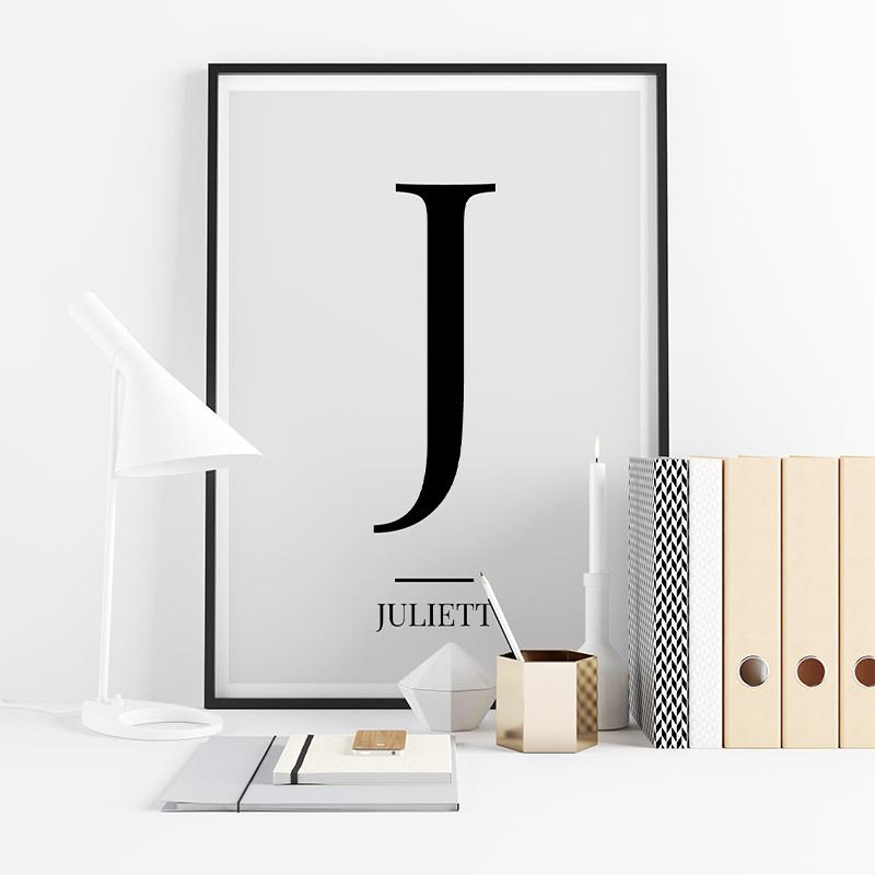 Black letter J (Juliett) NATO phonetic alphabet minimalist free printable wall art, digital print