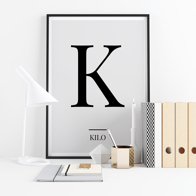 Black letter K (Kilo) NATO phonetic alphabet minimalist free printable wall art, digital print