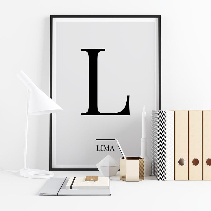 Black letter L (Lima) NATO phonetic alphabet minimalist free printable wall art, digital print