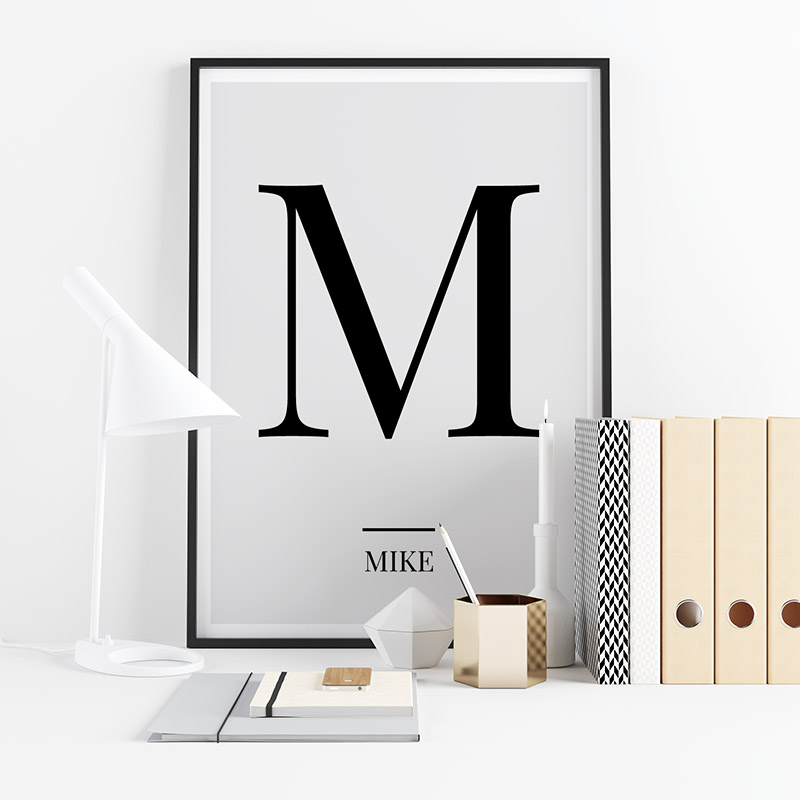 Black letter M (Mike) NATO phonetic alphabet minimalist free printable wall art, digital print