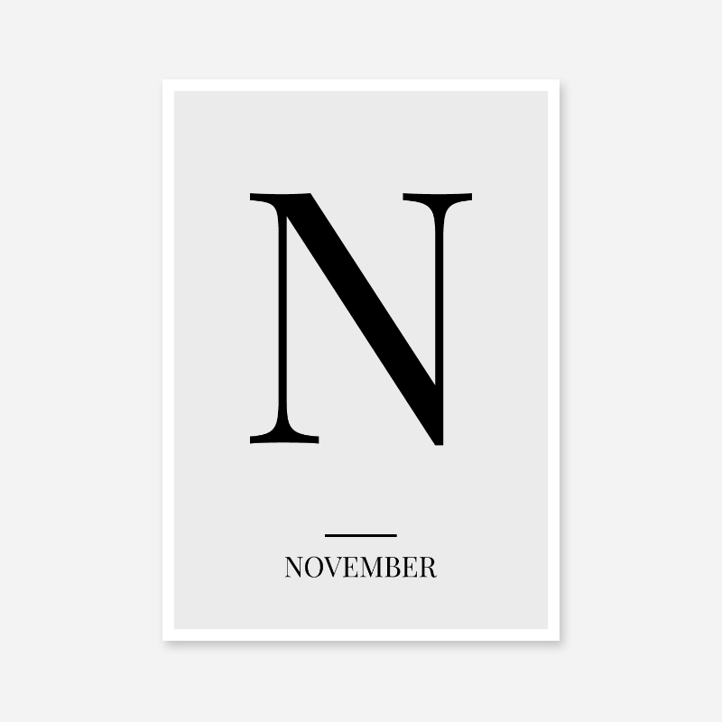 Black letter N (November) NATO phonetic alphabet minimalist free printable wall art