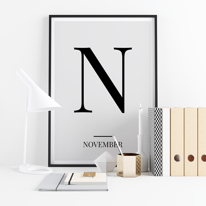 Black letter N (November) NATO phonetic alphabet minimalist free printable wall art, digital print