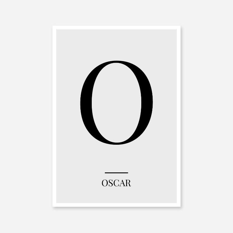 Black letter O (Oscar) NATO phonetic alphabet minimalist free printable wall art