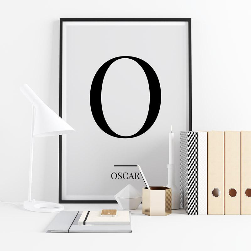 Black letter O (Oscar) NATO phonetic alphabet minimalist free printable wall art, digital print
