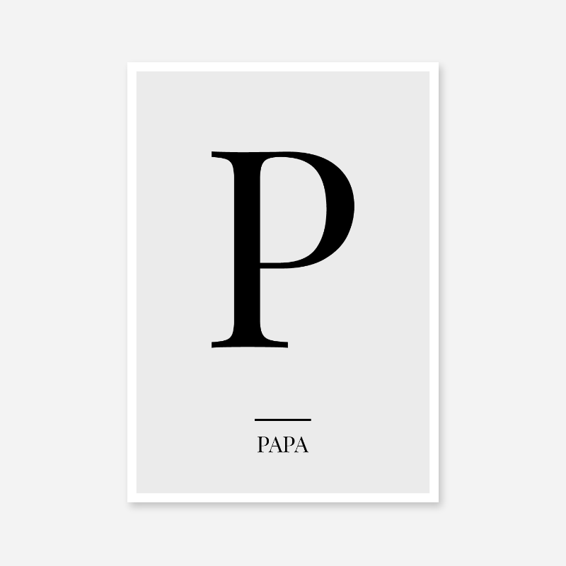Black letter P (Papa) NATO phonetic alphabet minimalist free printable wall art
