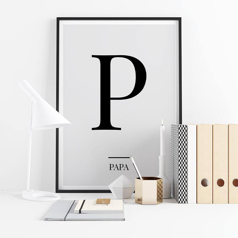 Black letter P (Papa) NATO phonetic alphabet minimalist free printable wall art, digital print