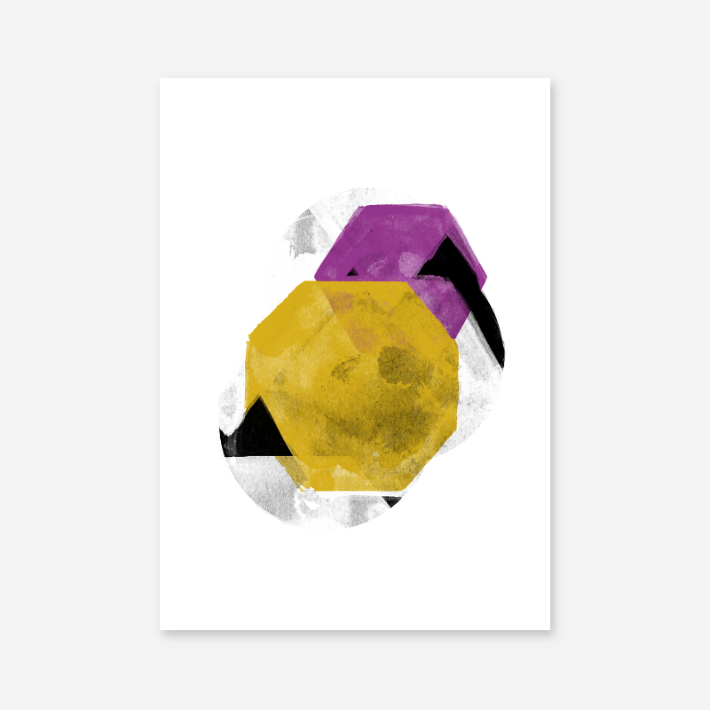 Black grey yellow and purple abstract design with polygons watercolour minimalist downloadable wall art