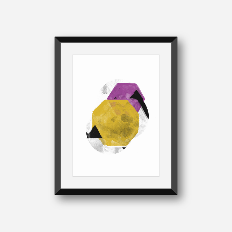 Black grey yellow and purple abstract design with polygons watercolour minimalist downloadable wall art, digital print