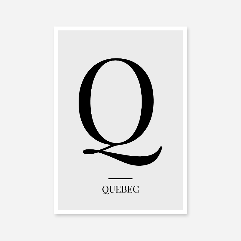 Black letter Q (Quebec) NATO phonetic alphabet minimalist free printable wall art