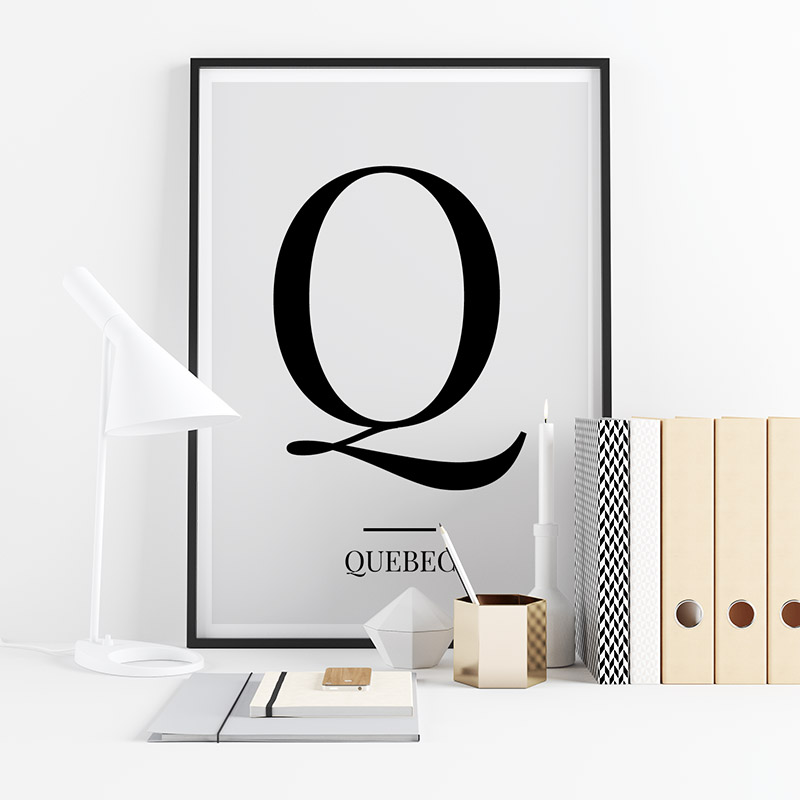 Black letter Q (Quebec) NATO phonetic alphabet minimalist free printable wall art, digital print