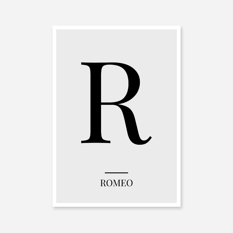 Black letter R (Romeo) NATO phonetic alphabet minimalist free printable wall art