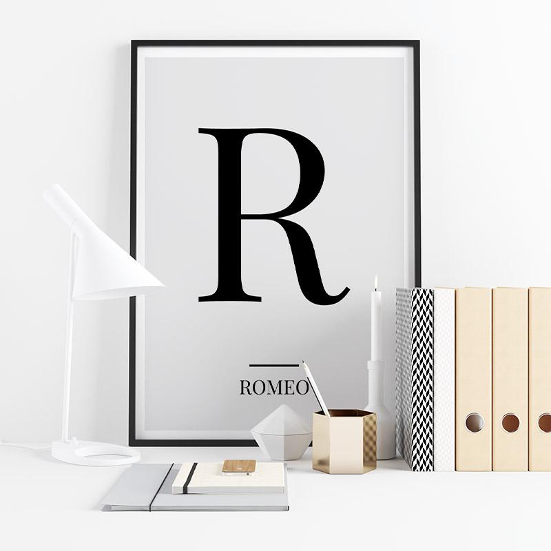 Black letter R (Romeo) NATO phonetic alphabet minimalist free printable wall art, digital print