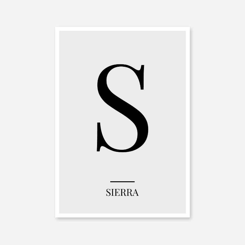 Black letter S (Sierra) NATO phonetic alphabet minimalist free printable wall art