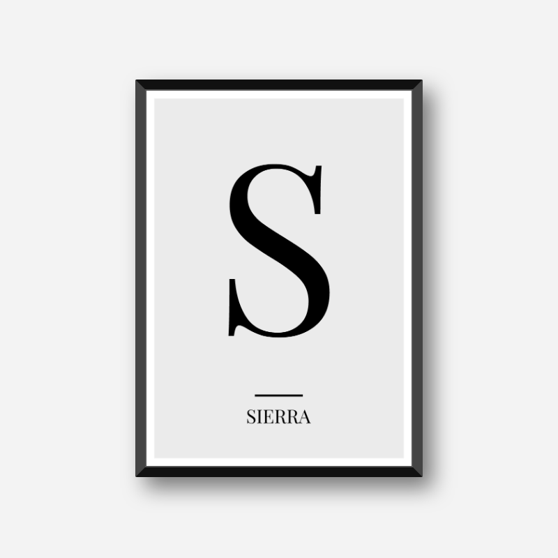 Black letter S (Sierra) NATO phonetic alphabet minimalist free printable wall art, digital print