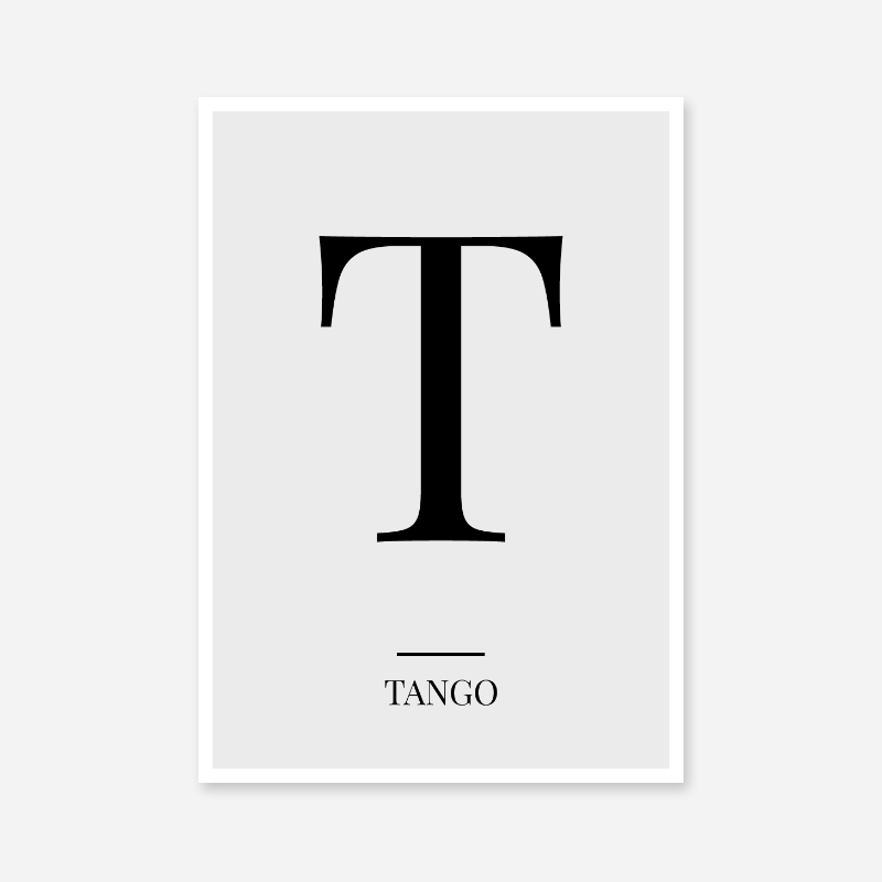 Black letter T (Tango) NATO phonetic alphabet minimalist free printable wall art