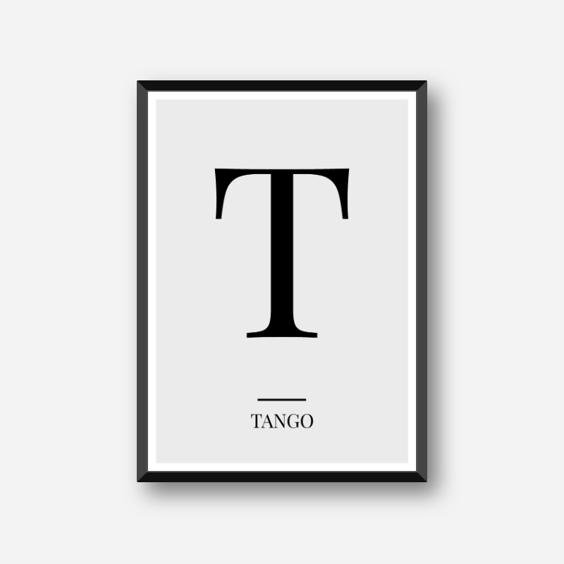 Black Letter T Tango Nato Phonetic Alphabet Minimalist Free Printable Wall Art Frintables