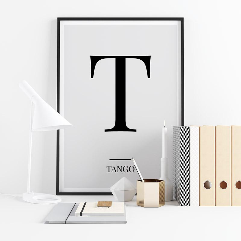 Black letter T (Tango) NATO phonetic alphabet minimalist free printable wall art, digital print