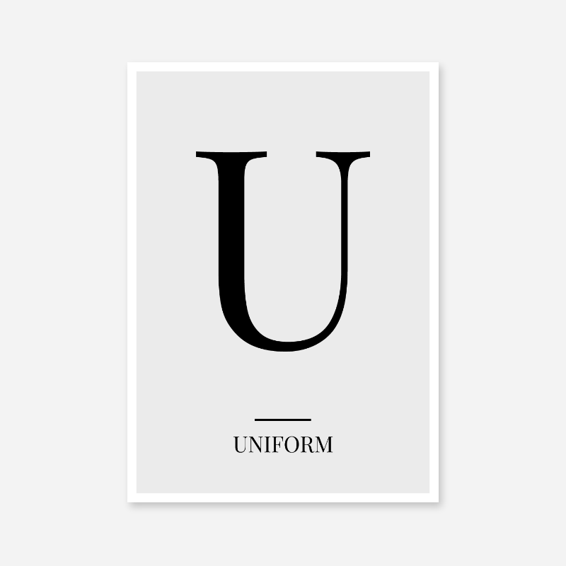 Black letter U (Uniform) NATO phonetic alphabet minimalist free printable wall art