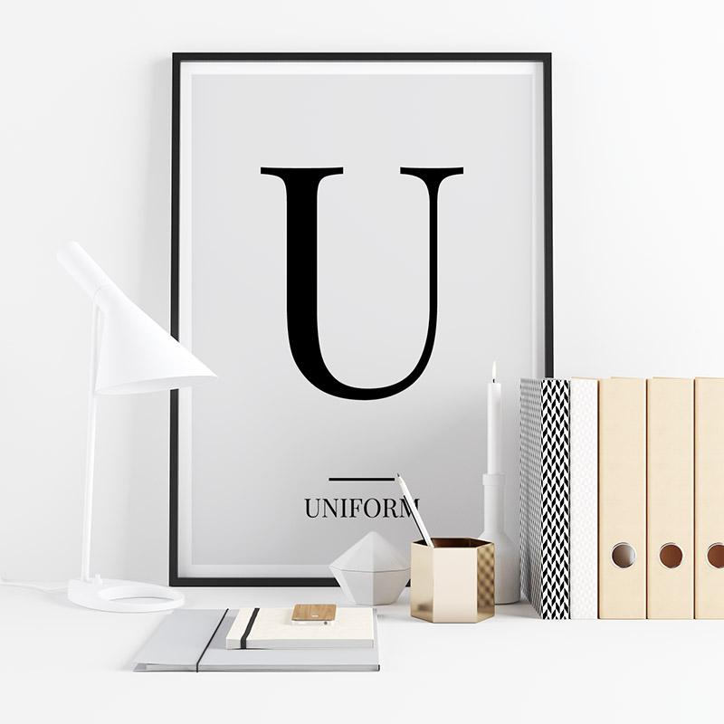 Black letter U (Uniform) NATO phonetic alphabet minimalist free printable wall art, digital print