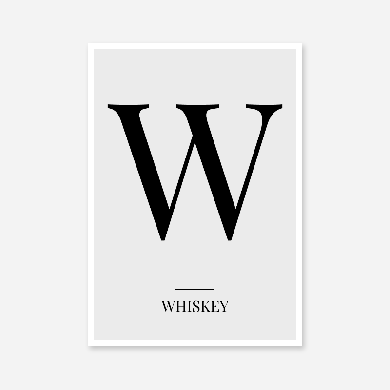 Black letter W (Whiskey) NATO phonetic alphabet minimalist free printable wall art