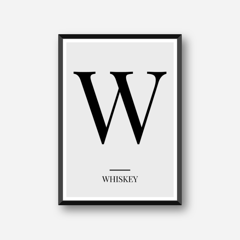 Black letter W (Whiskey) NATO phonetic alphabet minimalist free printable wall art, digital print