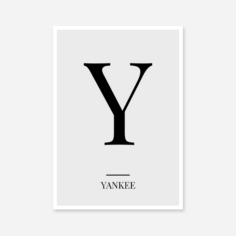 Black letter Y (Yankee) NATO phonetic alphabet minimalist free printable wall art